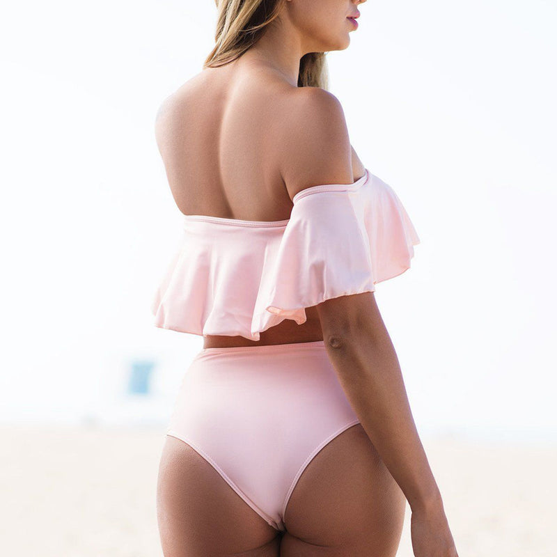 Strappy High Waist Ruffle Off Shoulder Bikini Two Piece Swimsuit