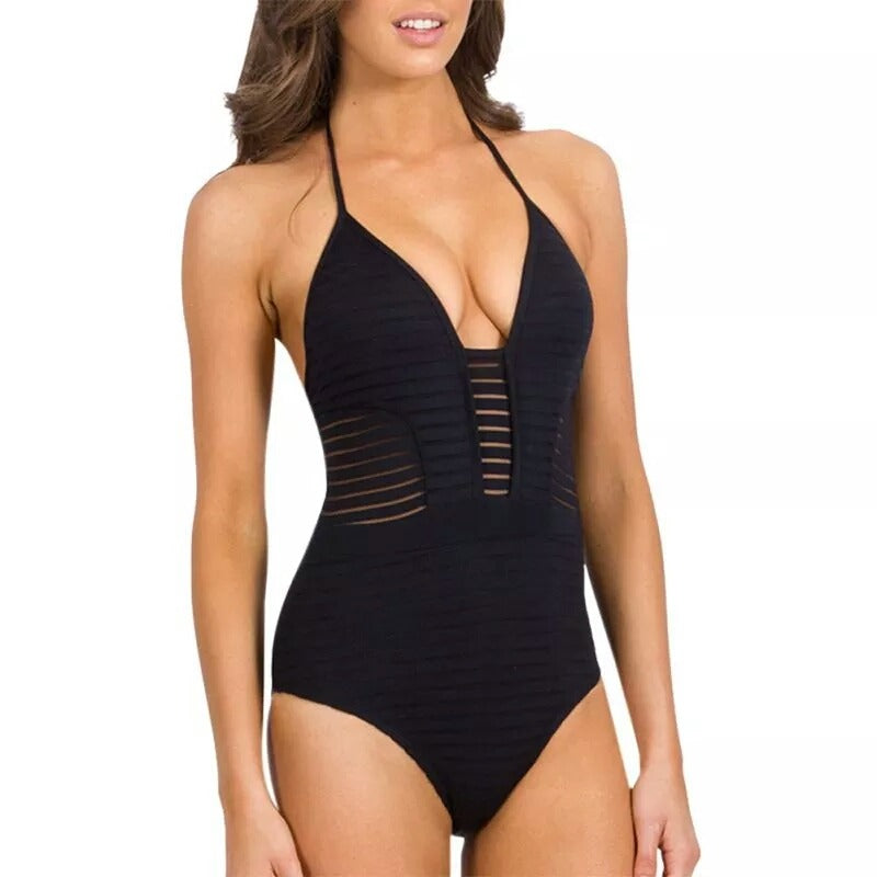 Stripe Mesh Panel Halter Straps One Piece Swimsuit