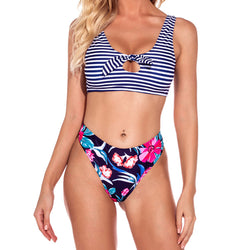 Striped Floral Printed High Cut Knotted Cutout Bikini Two Piece Swimsuit