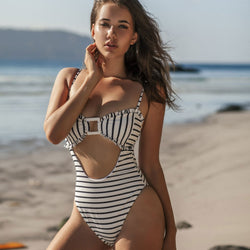 Striped High Cut Cutout Front One Piece Swimsuit
