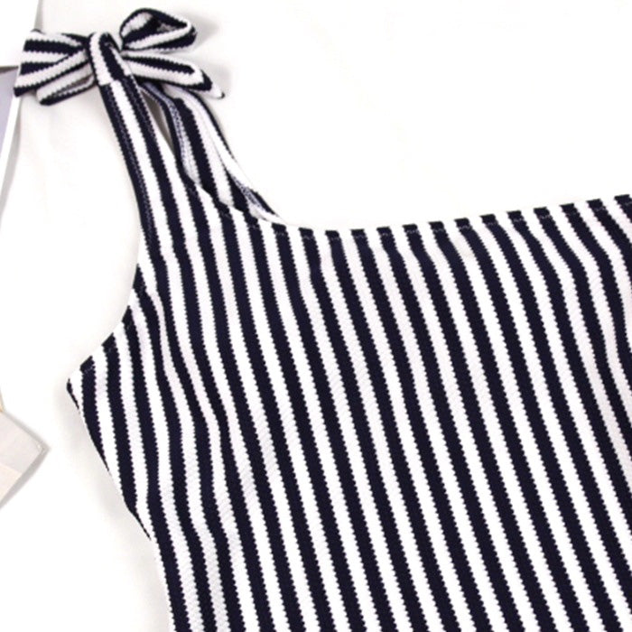 Striped One Shoulder Tie Straps One Piece Swimsuit