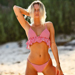 Striped Ruffle Triangle Bikini Two Piece Swimsuit