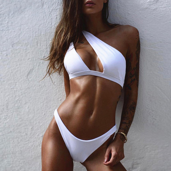 Stylish Cutout One Shoulder Bikini Two Piece Swimsuit