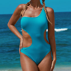 Textured Cutout One Shoulder Monokini One Piece Swimsuit