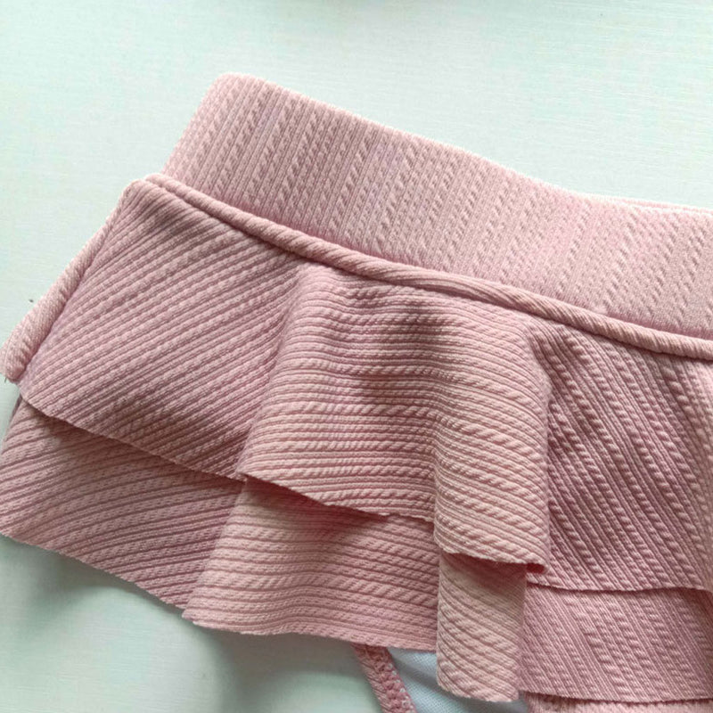 Textured Layer Ruffle High Waist Bandeau Bikini Two Piece Swimsuit