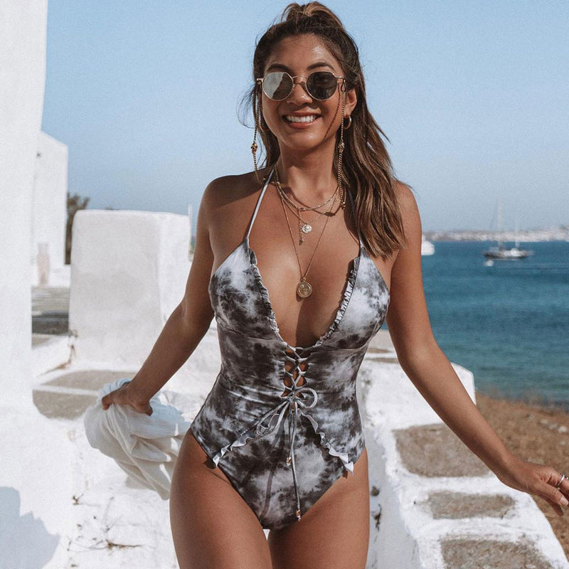 Tie Dye Lace Up Front Plunging V One Piece Swimsuit
