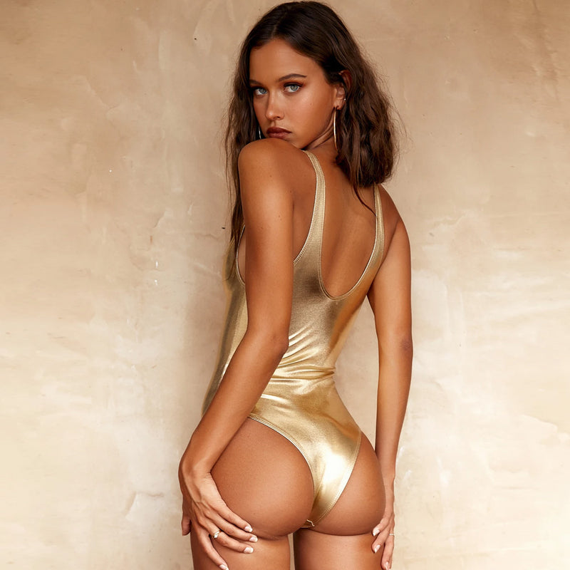 Shiny Metallic Plunging Neck One Piece Swimsuit