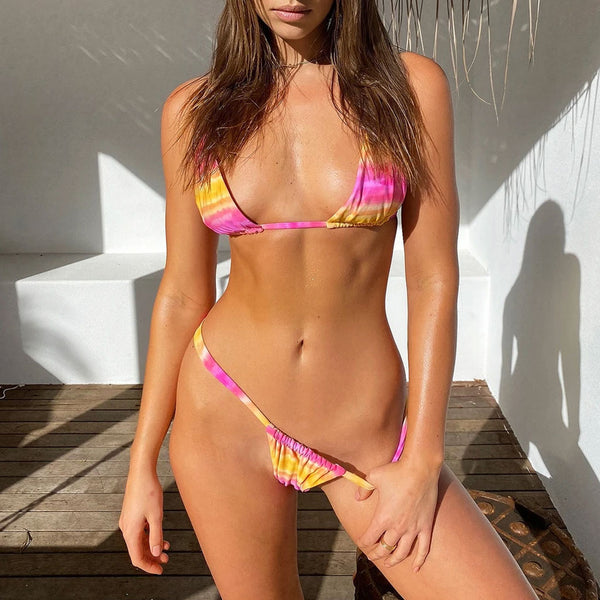 Tie Dye Printed Sliding Triangle Bikini Three Piece Swimsuit