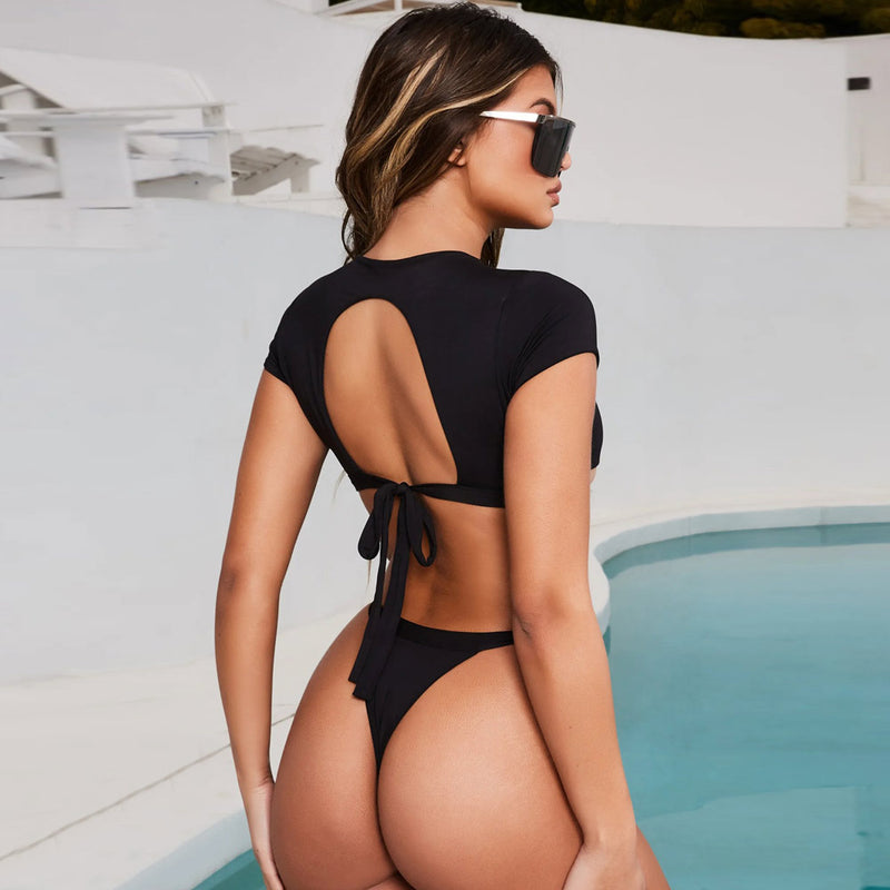Tie Straps Cutout Back Thong Bikini Two Piece Swimsuit