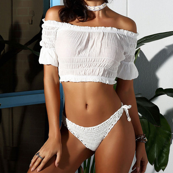 Tie String Puff Sleeve Crochet Off Shoulder Two Piece Cover Up Set