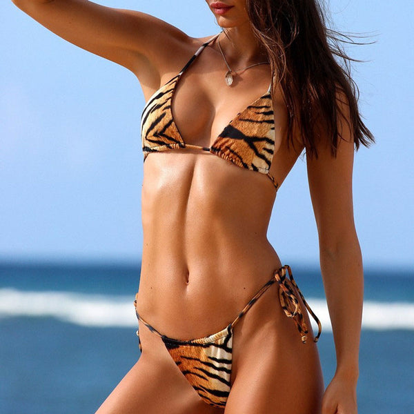 Tiger Striped Tie String Slide Triangle Bikini Two Piece Swimsuit