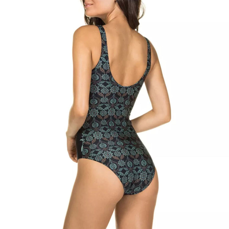 Tribal Printed High Neck One Piece Swimsuit