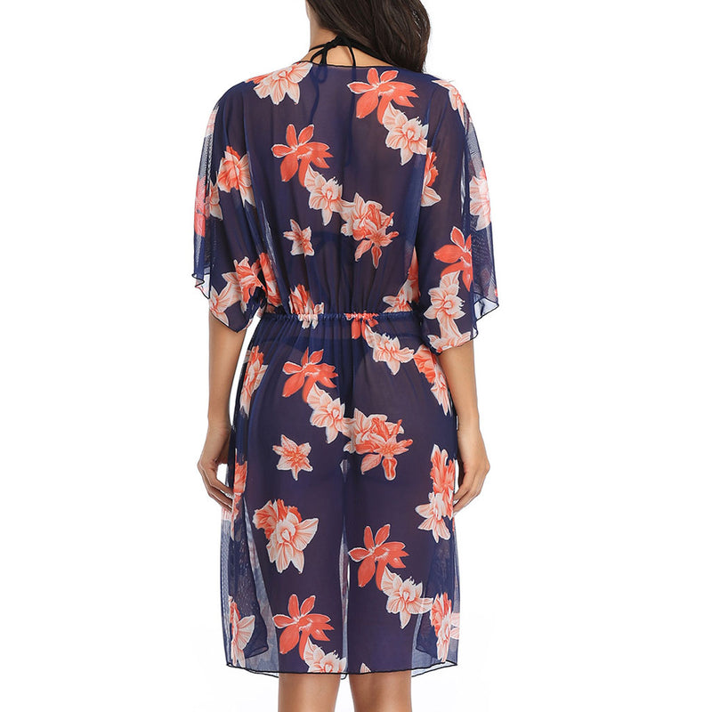 Tropical Plant Printed Short Sleeve Drawstring Midi Cover Up