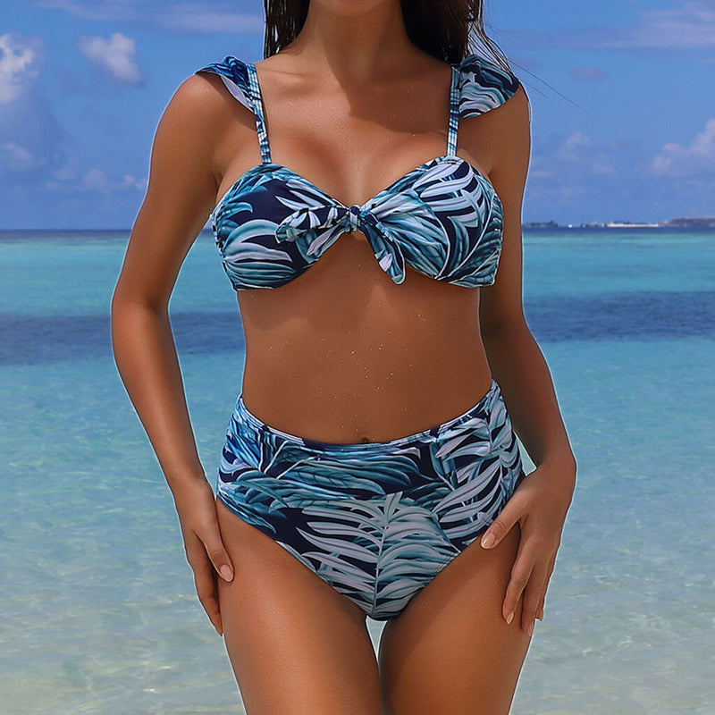 Tropical Printed High Waist Knotted Bralette Bikini Two Piece Swimsuit