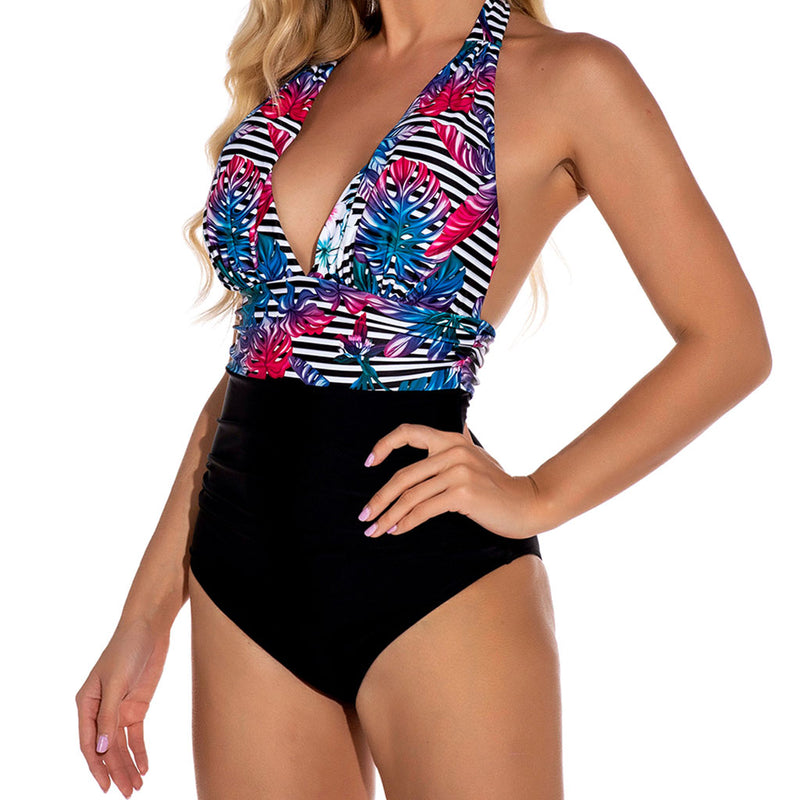 Tropical Printed Low Back Deep V Halter One Piece Swimsuit