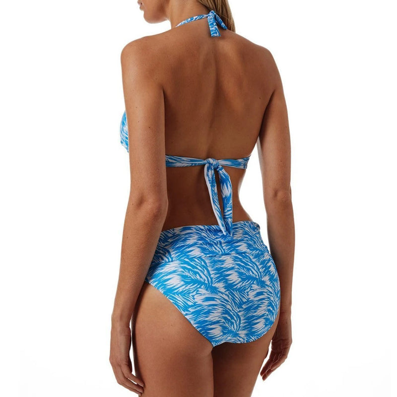 Tropical Printed Metal Ring V Neck Halter Bikini Two Piece Swimsuit