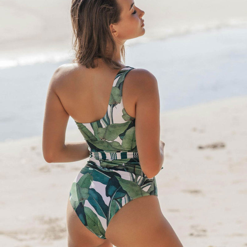 Tropical Tie Strap One Shoulder One Piece Swimsuit