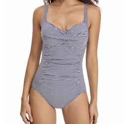 Twist Front Printed Ruched One Piece Swimsuit