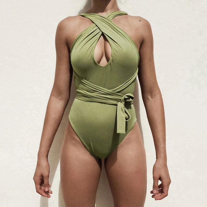 Versatile High Cut Wrap Around Low Back One Piece Swimsuit