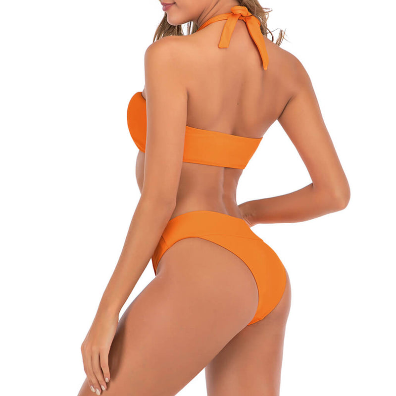 Versatile Solid Color Ruched Halter Bikini Two Piece Swimsuit