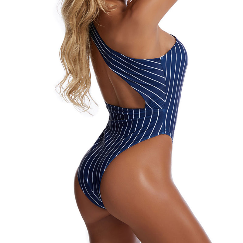 Vertical Striped High Cut Cutout One Shoulder One Piece Swimsuit