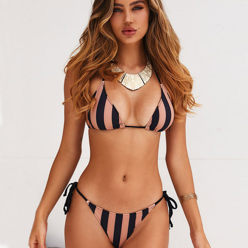 Vintage Printed Tie String Slide Triangle Bikini Two Piece Swimsuit