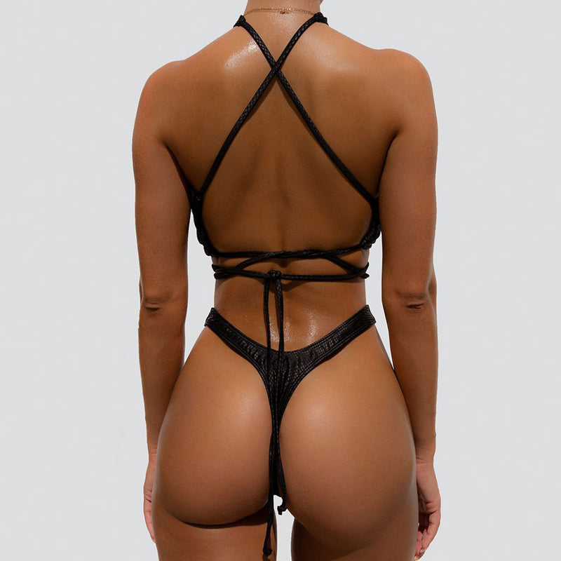 Vinyl High Cut Tie String Back Wrap Bikini Two Piece Swimsuit