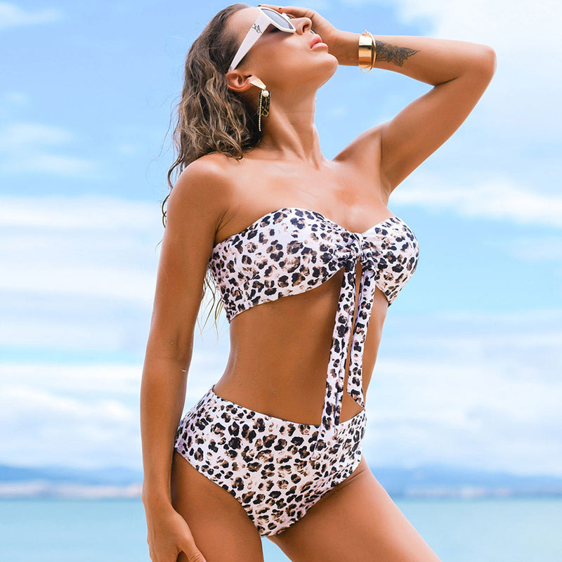Wild Printed High Waist Knotted Front Bandeau Bikini Two Piece Swimsuit