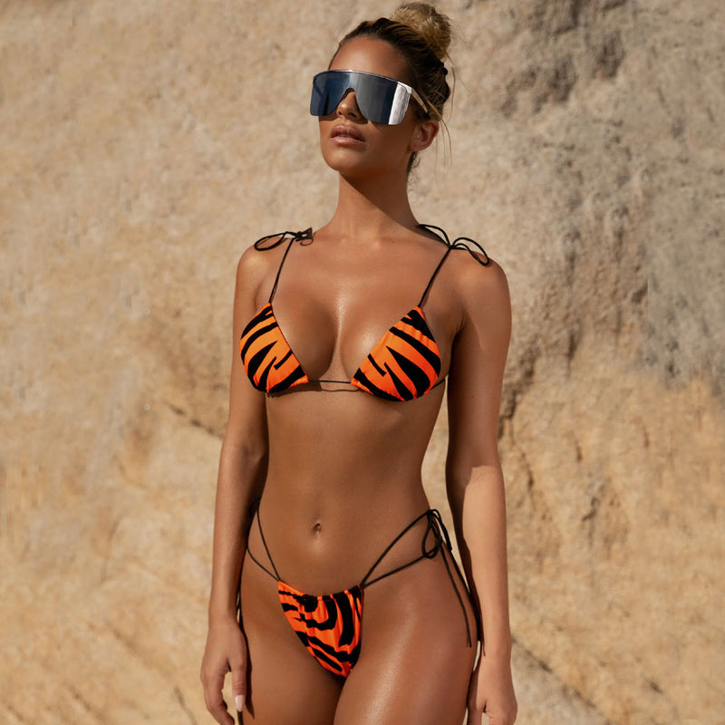 Zebra Printed String Slide Triangle Bikini Two Piece Swimsuit