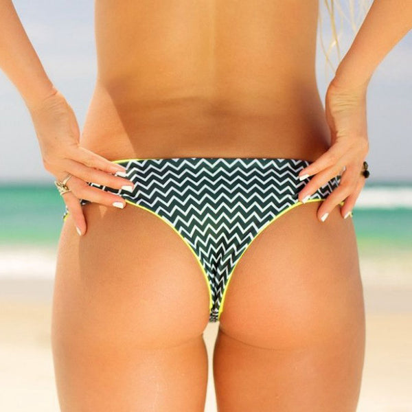 Zigzag Printed Low Rise Cheeky Bikini Bottom