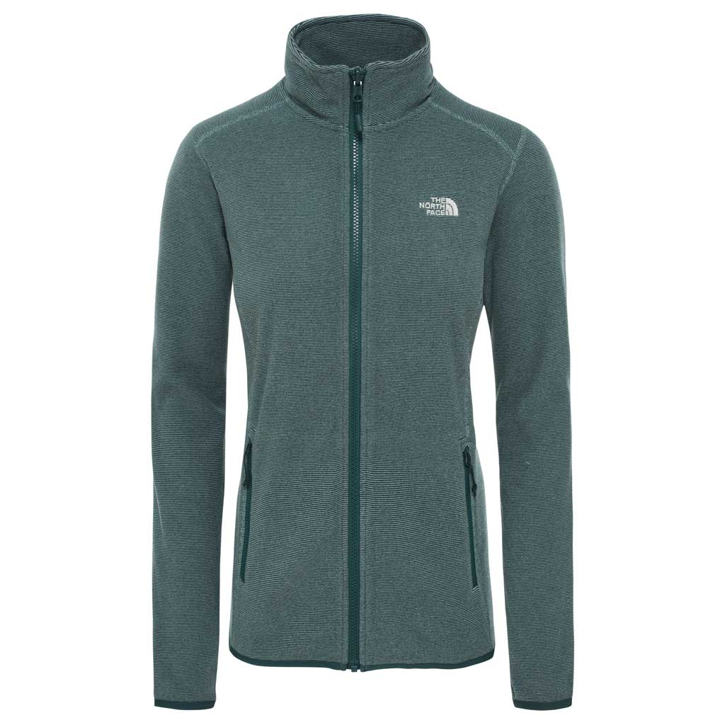 North Face FLEECE Jacket Women's 100 Glacier FZ Ponderosa Green Stripe