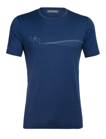 Icebreaker Men's Tech Lite Short Sleeve Crewe Cadence Paths - Blue