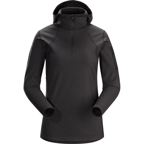 Arc'teryx BASE LAYER Top Women's Rho LT Hooded Zip Neck Black