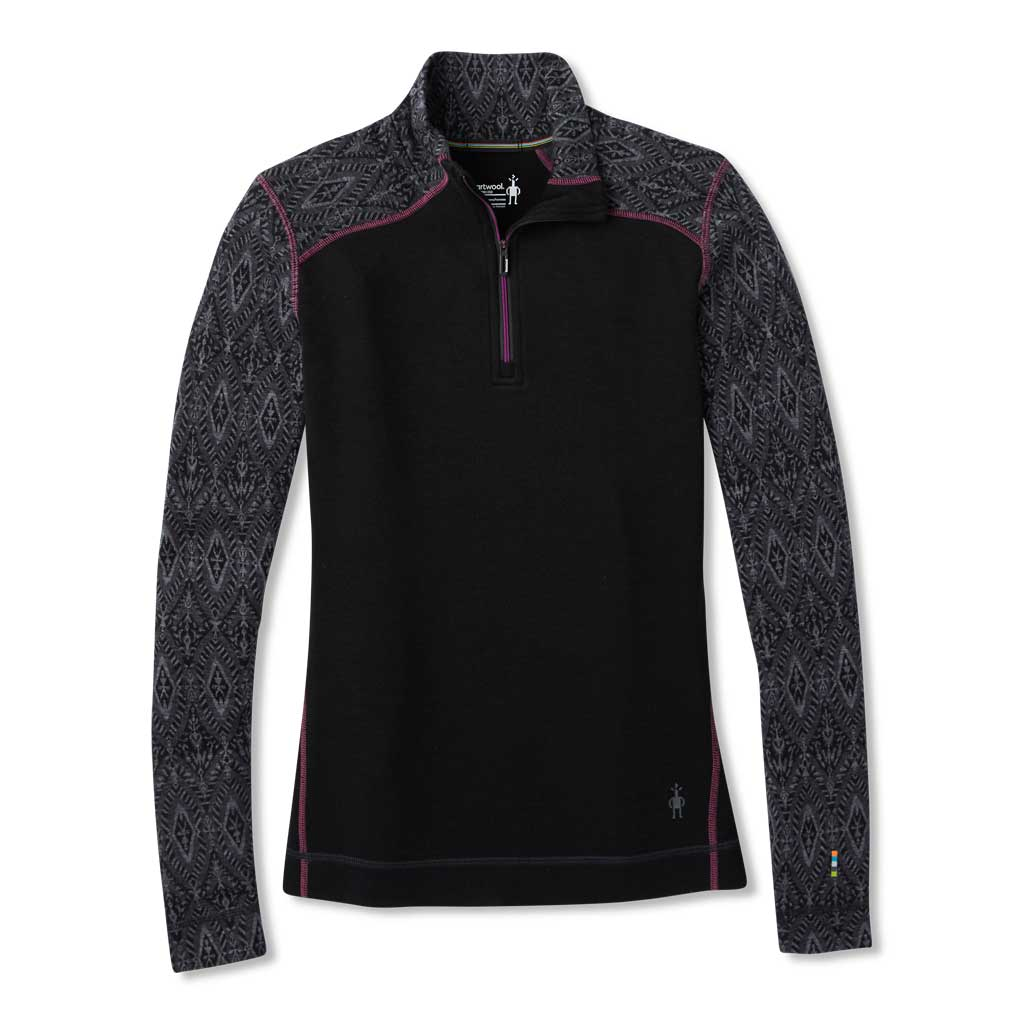 Smartwool BASE LAYER Top Women's Merino 250 Pattern 1/4 Zip Black Medallion