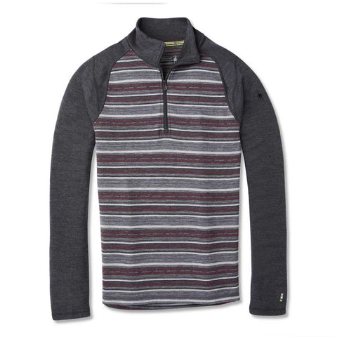 Smartwool BASE LAYER Top Men's 250 Base Pattern 1/4 Zip Charcoal Margarita