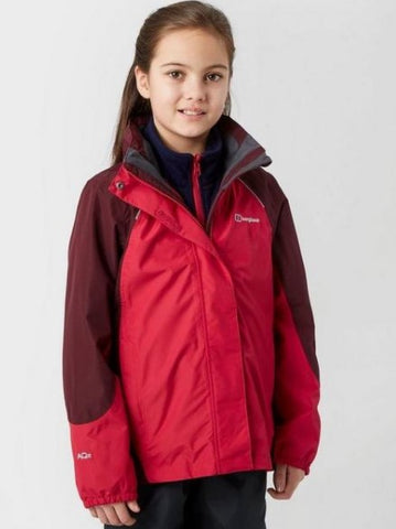 Kids' Berghaus Carrock 3 In 1 Waterproof Jacket - Red
