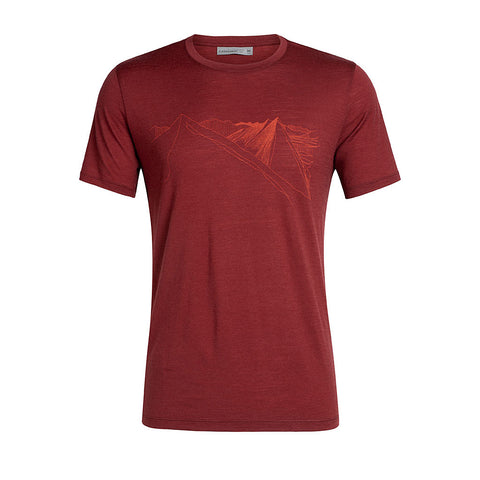 Icebreaker Top Men's Tech Lite SS Artist Tee Peak in Reach Cabernet