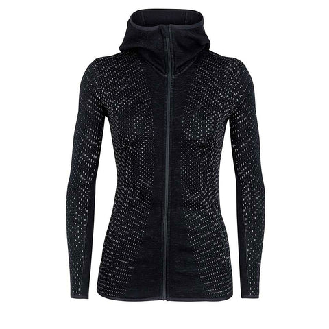 Icebreaker Jacket Women's Elemental LS Zip Hood Crystal Black