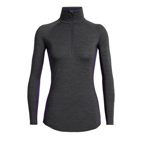 Icebreaker BASE LAYER Top Women's 200 Zone LS Half Zip Jet Heather/Lotus