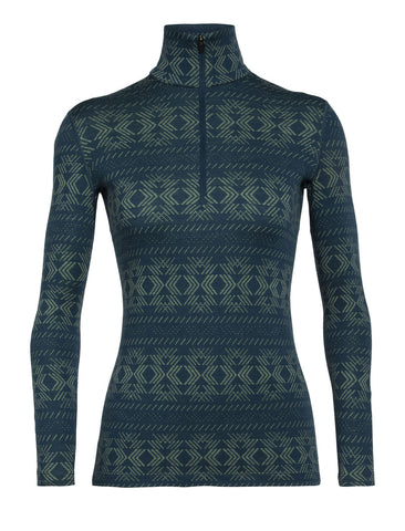 Women's Icebreaker 250 Vertex LS HZ Crystalline Base Layer - Blue
