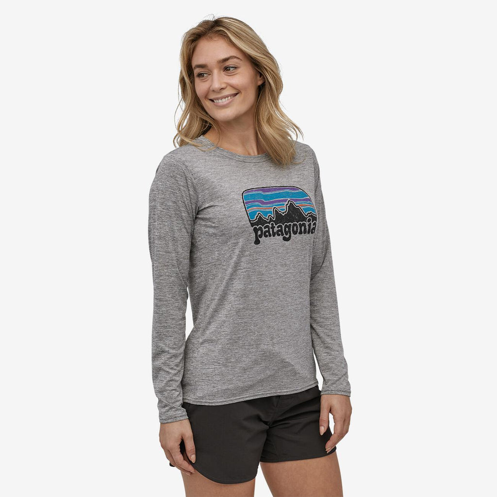 Women's Patagonia Cap Cool Graphic LS T-shirt - Grey