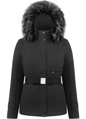 Women's Poivre Blanc Stretch Belted Ski Jacket - Black