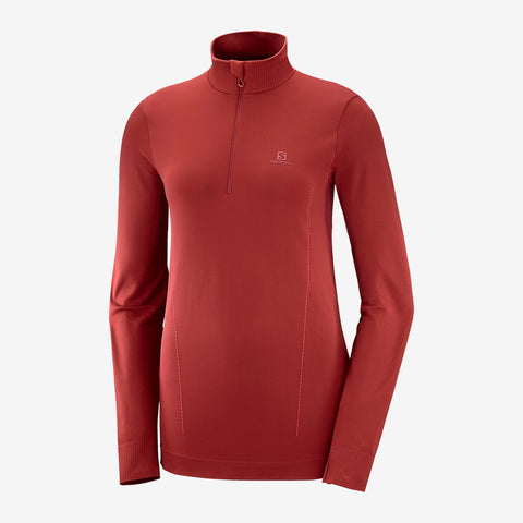 Women's Salomon Comet Seamless Half Zip - Red