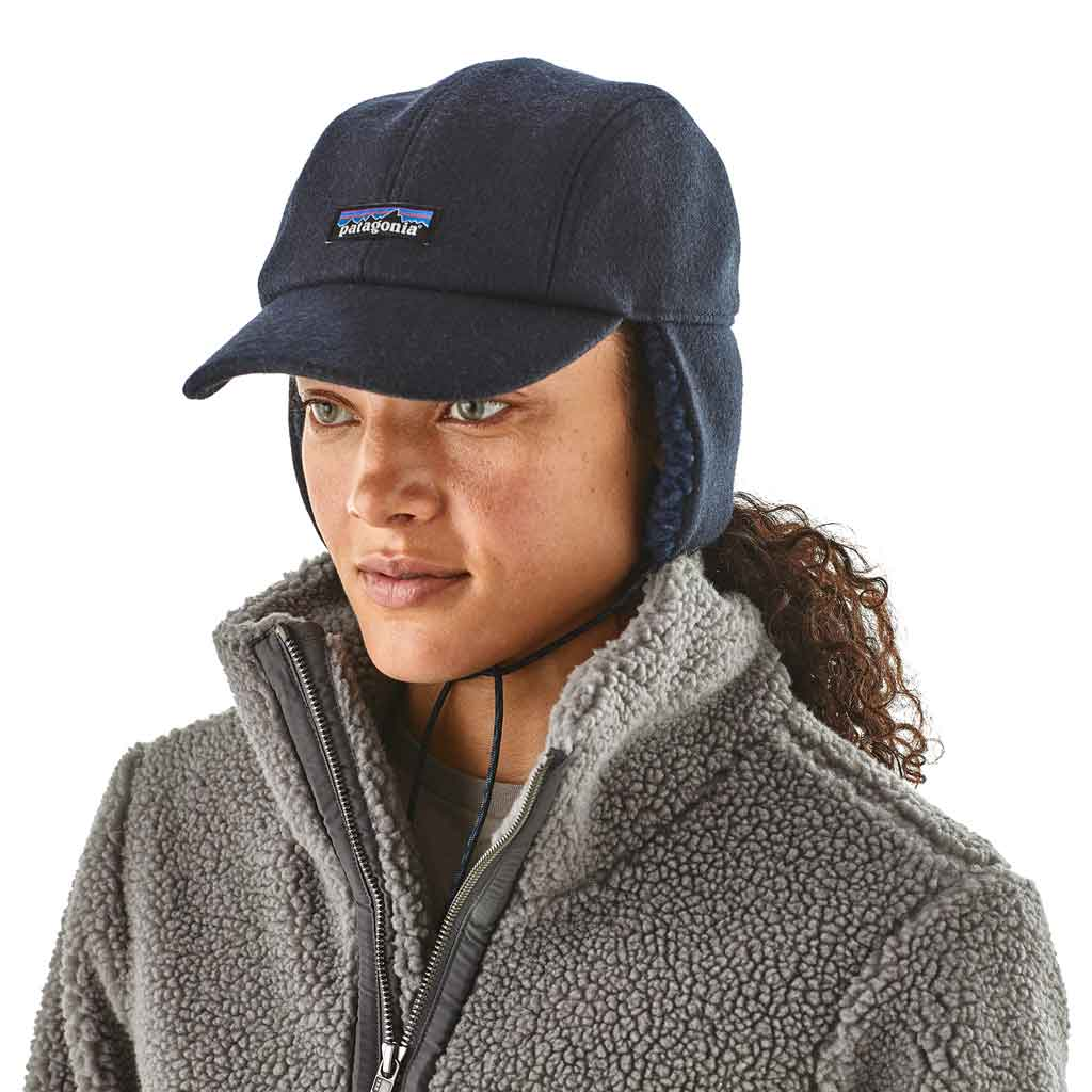 Patagonia Hat Recycled Wool Earflap Cap Classic Navy
