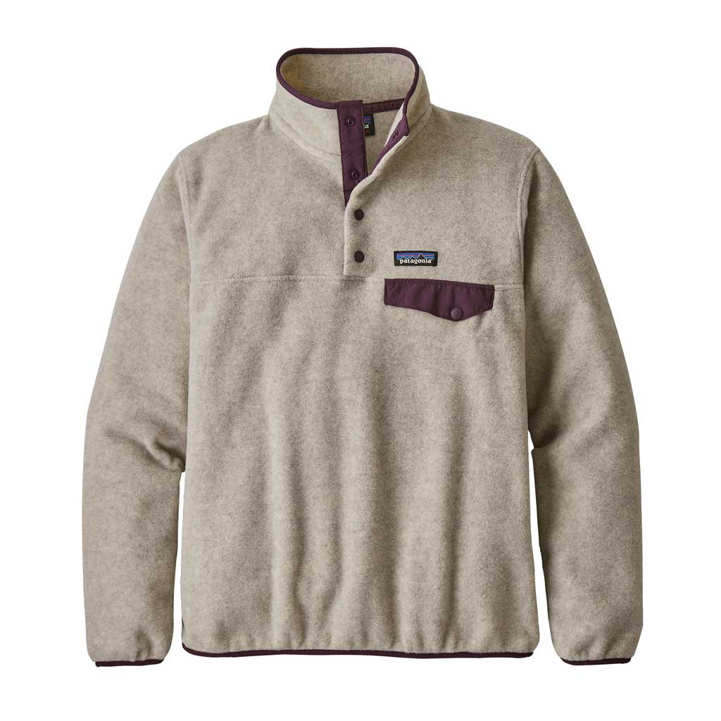 Patagonia FLEECE Top Women's LW Synchilla Snap-T Pullover Oatmeal/Deep Plum