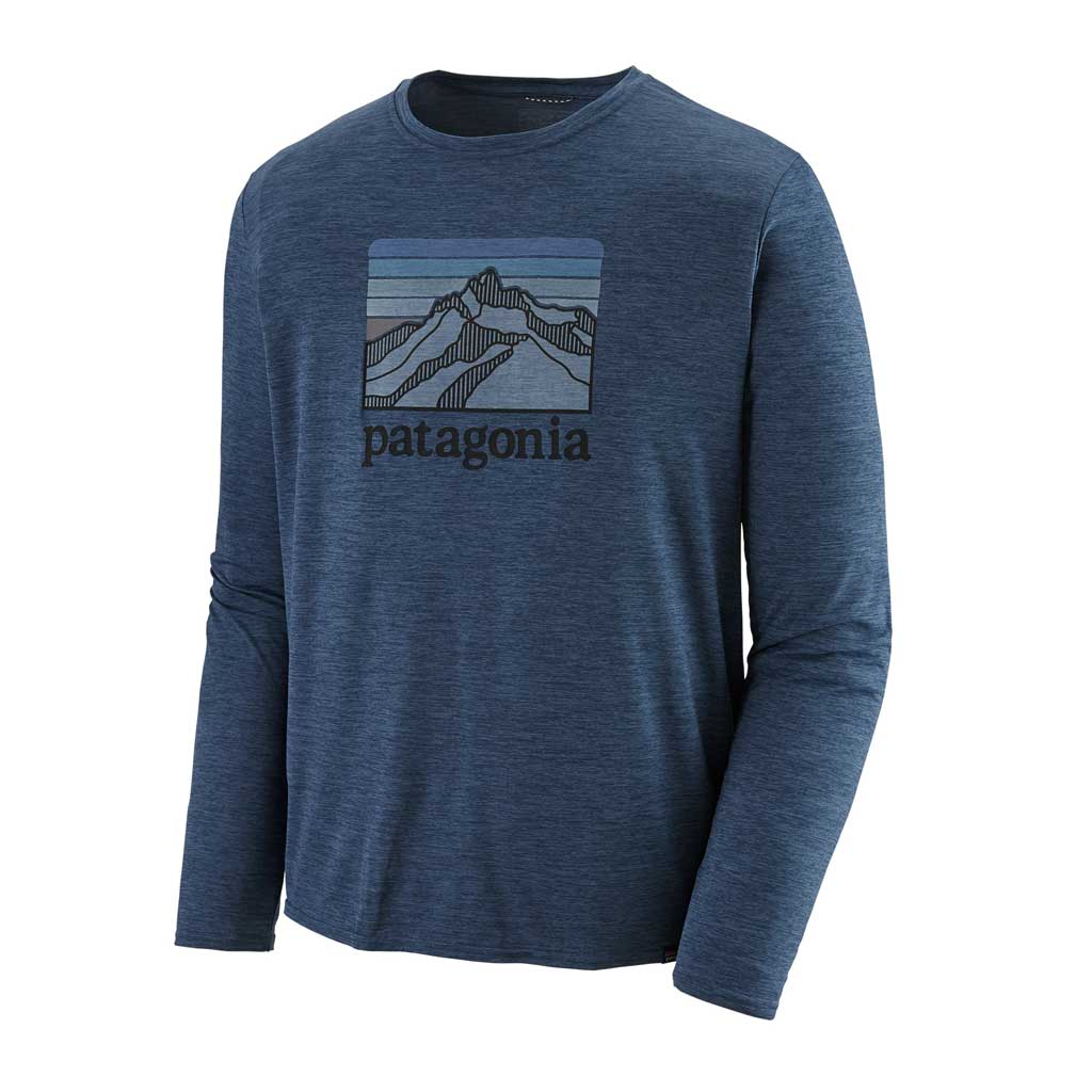 Patagonia BASE LAYER Top Men's Capilene Cool Daily Graphic Shirt Line Logo Blue