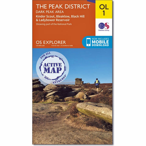 OS Explorer ACTIVE Map OL1 The Peak District - Dark Peak