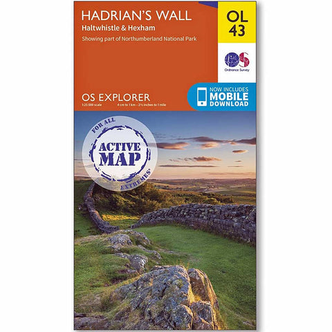 OS Explorer ACTIVE Map OL43 Hadrian's Wall