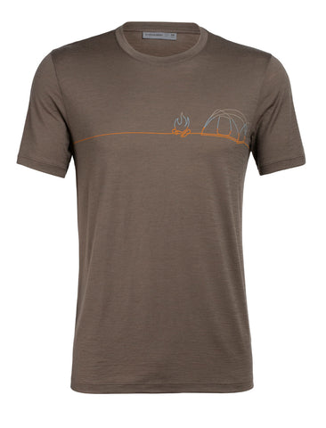 Icebreaker Men's Tech Lite Short Sleeve Crewe - Artist- Single Line Camp- Driftwood
