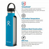 Hydro Flask HYDRATION 21oz / 0.6 L Standard Mouth Flex Cap Bottle Pacific